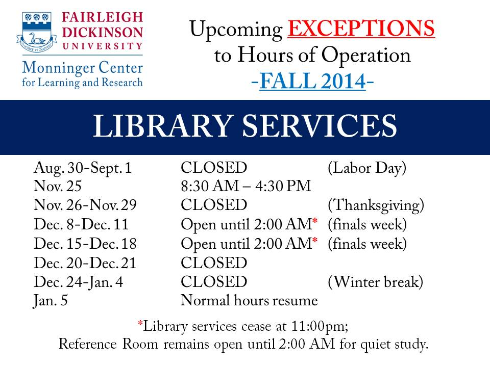 Library Thanksgiving Hours